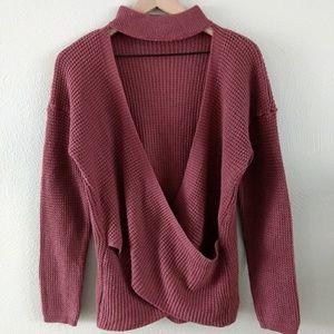 Choker neck open front sweater medium